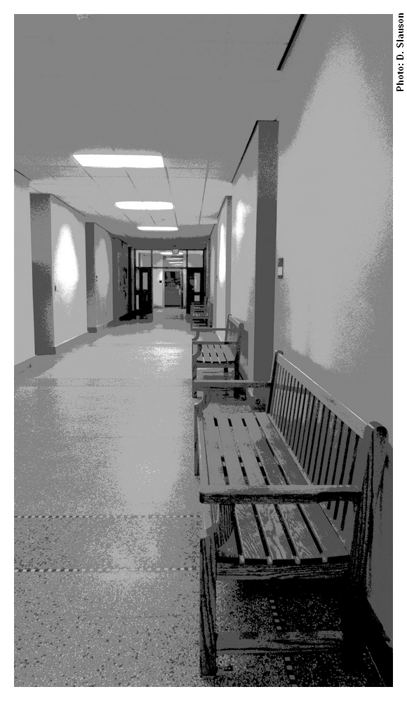 Posterized photo of a hallway in MacLean Hall
