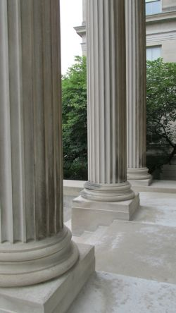 The outdoor columns of MacLean Hall.