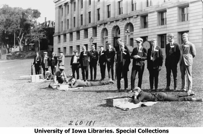 Sharpshooters outside MacLean Hall - 1922