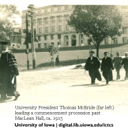 Prof. McBride leading the commencement processional - 1915