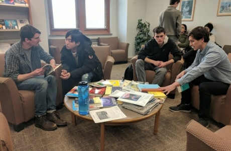 Students discussing readings from the UI Directed Reading Program.